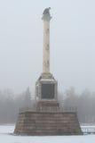 Chesmenskaya column closeup, winter on a foggy day. Tsarskoye Selo Stock Photos