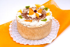 Chesnut cake with fruits. Delicious chesnut cake with fruits Stock Photography