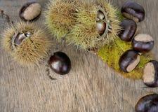 Chesnuts y cáscara dulces en un tablón fotos de archivo libres de regalías