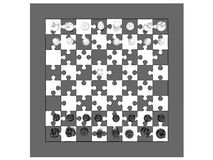 Chess. Top view of chess board made of puzzle pieces, white pawn moved. the other pieces are on their original position. Chess board viewed from top vector illustration