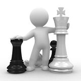 Chess. 3d human with big chess pieces