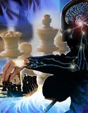 Chess. Silhouette of a chess player moving piece, and image of the brain and  started up nervous system Royalty Free Stock Photo