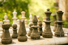 Chess. Game made of stone standing in the open Stock Photo