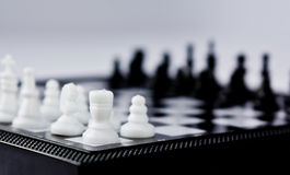 Chess. A Chessboard in the grey background Stock Image