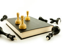 Chess. And book isolated  on white Stock Photography