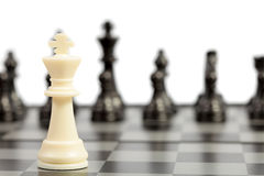 Chess. White and black chessmen on a chessboard Stock Images