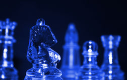 Chess. Pieces close up with a blue tint Stock Image