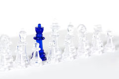 Chess. Some chess on white board with blue queen Royalty Free Stock Images