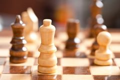 Chess. Close up of chess pieces on the board, shallow depth of field Royalty Free Stock Photos