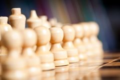 Chess. Close up of chess pieces on the board, shallow depth of field Stock Photography