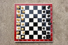 Chess. Board with  figures ready to play, isolated on white with clipping path Royalty Free Stock Photo