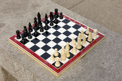 Chess. Board with  figures ready to play, isolated on white with clipping path Stock Photo