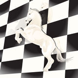 Chess. Illustration, chess figure horse on background of the chess board Royalty Free Stock Image