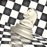 Chess. Illustration, chess figure horse on background of the chess board Stock Photo