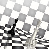 Chess. Illustration, two chess figures on chess board Stock Image