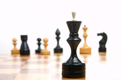 Chess. Some chessmen on a chessboard, white background Stock Photos