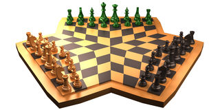 Chess. Three way chess game isolated on white background. white, black and green players. chess game made for 3 players Stock Photos
