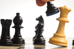Chess. Pieces on a board royalty free stock image