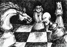 Chess. Abstract chess battle.Picture I have created with pen Stock Photos