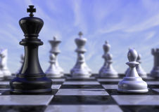 Chess. 3d computer generated image of a white pawn versus a black king stock photography