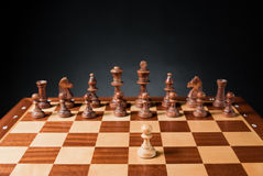 Chess. Pieces on wood board Stock Images