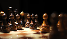 Chess. Game Chess. Chessboard , first move with black pawn royalty free stock images