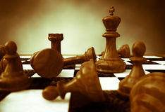 Chess. 3d rendering of a closeup of a chessboard Royalty Free Stock Photo