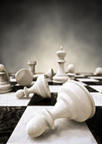 Chess. Very high quality 3D Rendering,  closeup of a chessboard, dramatic effect Stock Photos