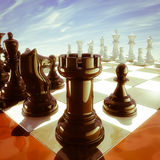 Chess. Three-dimensional computer generated image of a chess board, tower point of view Royalty Free Stock Images