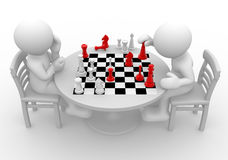 Chess. 3d people - human character, person at a table playing chess. 3d render vector illustration