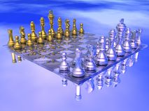 Chess. Board with golden and silver figures in blue background Stock Image