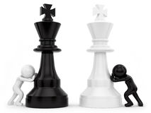 Chess. Render of 2 man pushing chess pieces Stock Photos