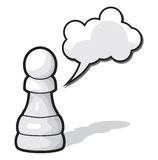 Chess. Pawn Chess illustration with cloud speech bubble Stock Images