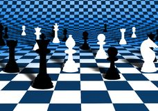 Chess. Illustration of chess pieces over a blue and white curved chessboard Stock Photography