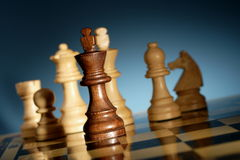 Chess. A game of chess comes to an end. when the king is checkmated, and the other party is victorious Stock Photo