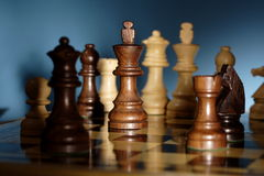 Chess. A game of chess comes to an end. when the king is checkmated, and the other party is victorious Royalty Free Stock Photography