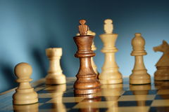 Chess. A game of chess comes to an end. when the king is checkmated, and the other party is victorious Royalty Free Stock Image
