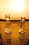 Chess. Table with 2 pieces and shining background Stock Photo