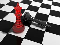 Chess. Red bishop checkmates the black king Stock Photos