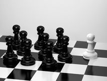 Chess. Upright black chess compete victory Stock Photo