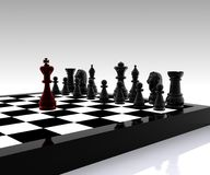 Chess - 3D. 3D illustration with chess, king, queen, rook, horses and pawns Royalty Free Stock Photos