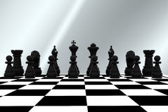 Chess - 3D. 3D illustration with chess, king, queen, rook, horses and pawns Stock Images