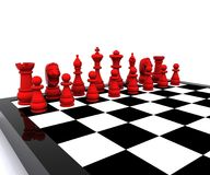 Chess - 3D. 3D illustration with chess, king, queen, rook, horses and pawns Royalty Free Stock Images