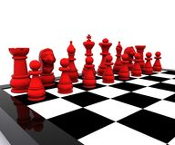 Chess - 3D. 3D illustration with chess, king, queen, rook, horses and pawns Stock Image