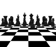 Chess - 3D. 3D illustration with chess, king, queen, rook, horses and pawns Stock Photos