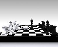 Chess 3D - clash between King and victory. 3D illustration with chess, king, queen, rook, horses and pawns Stock Image