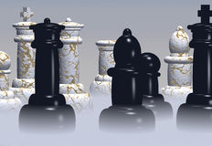 Chess. Pieces stand ready in a rising mist vector illustration