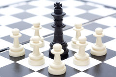 Chess. Detail of chess pieces on the board Stock Images