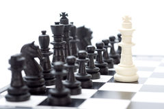 Chess. Detail of chess pieces on the board Stock Photography