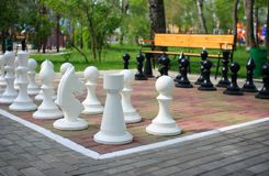 Chess. Giant chess in city park royalty free stock image